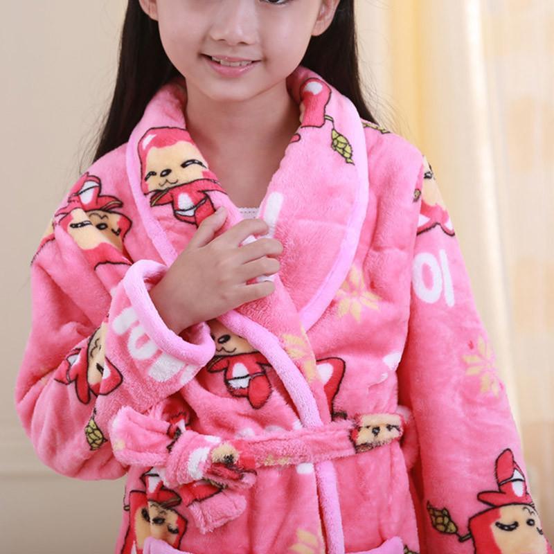 冬季新款时尚可爱卡通儿童水貂绒童装睡袍 女童法兰绒长袖睡衣家居服