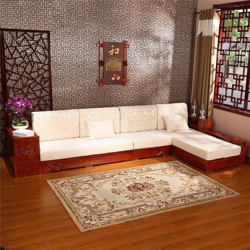 沙发现代中式时尚客厅布艺实木沙发s17组合储物沙发