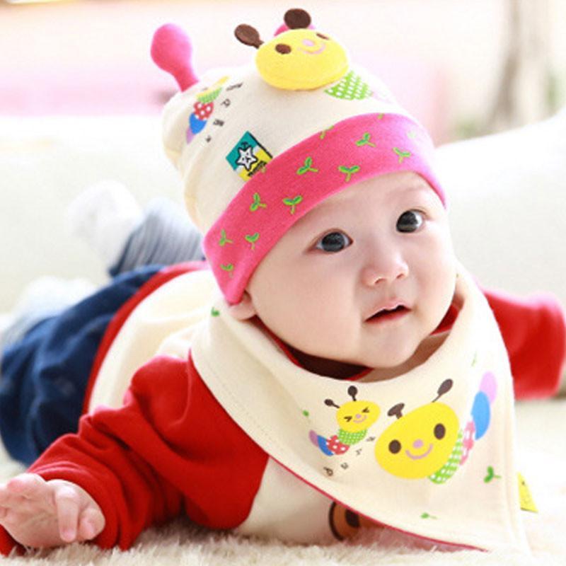 叶子宝宝 婴儿帽子套装套头帽睡眠帽加三角巾 毛毛虫黄色 6-36个月