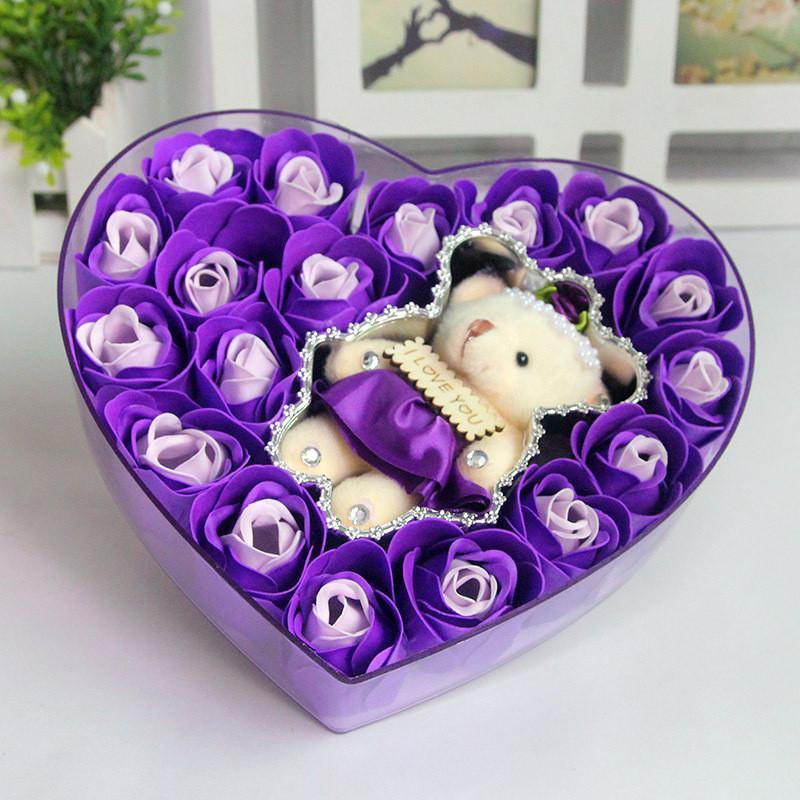 绿盒子 创意保鲜花礼盒 永生玫瑰花 香皂花 18朵玫瑰香皂花水晶之恋