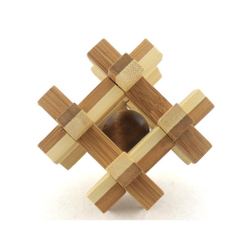 米米智玩 儿童木制孔明锁鲁班锁套装 成人智力拆装玩具 瓶【竹制笼中