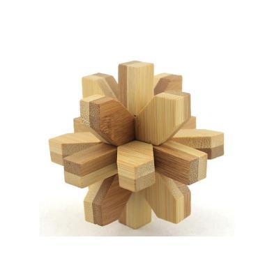 孔明锁丁香锁_米米智玩 儿童木制孔明锁鲁班锁套装 成人智力拆装玩具【竹制丁香花锁