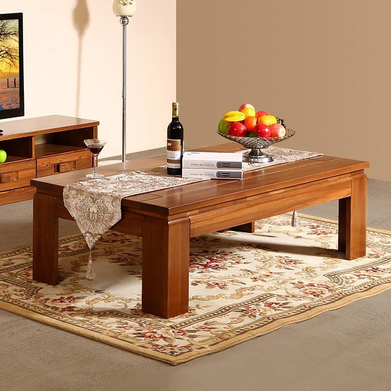 初林中式客厅茶几实木家具 现代中式客厅cj-1老榆木实木茶几 1.4米