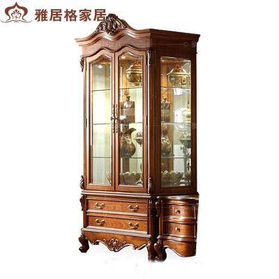 客厅美式玻璃双门酒柜f9114欧式实木装饰柜展示柜