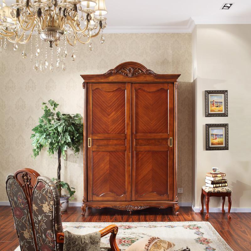 两门衣柜欧式实木衣柜推拉门