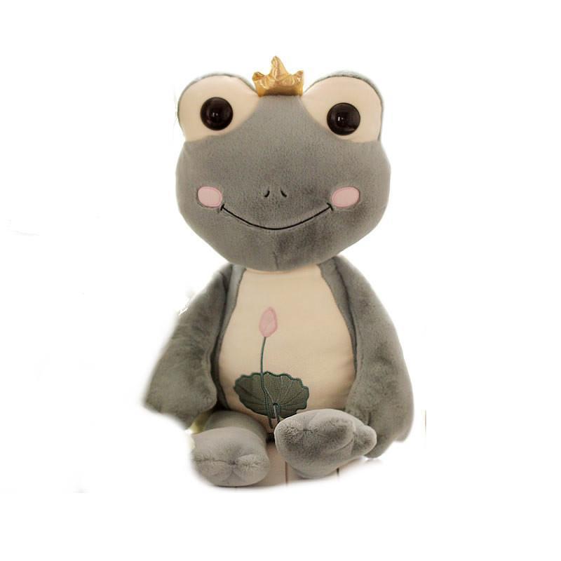 luckyted蓝白玩偶可爱卡通皇冠青蛙王子毛绒玩具公仔抱枕 儿童节生日