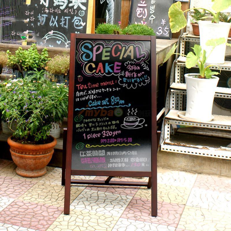 咖啡店黑板支架式荧光粉笔双面实木黑板酒吧奶茶咖啡