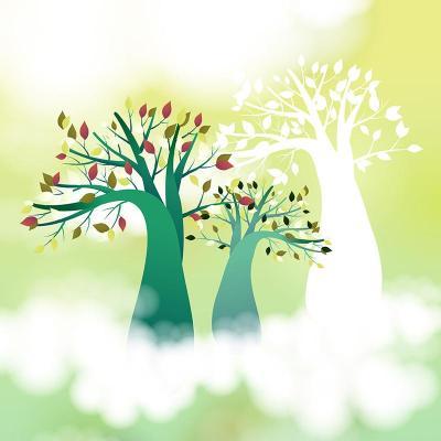 美时美刻简约卡通室内装饰画 儿童房壁画三联无框画树木云彩天空挂画