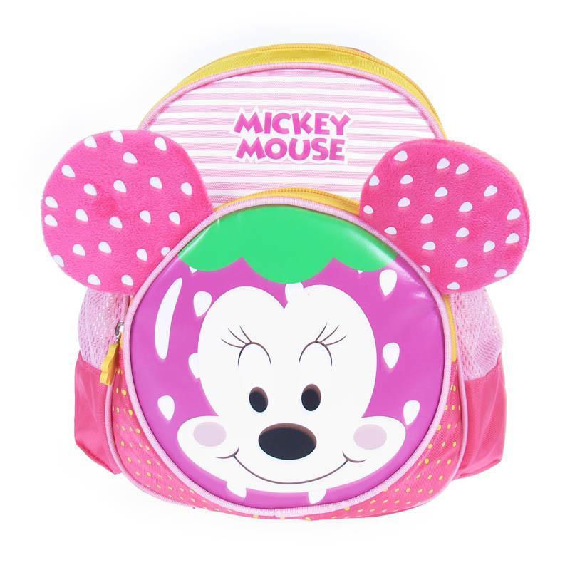 迪士尼新品 米奇毛绒小包幼儿双肩包男女童宝宝书包水果幼儿包 玫红