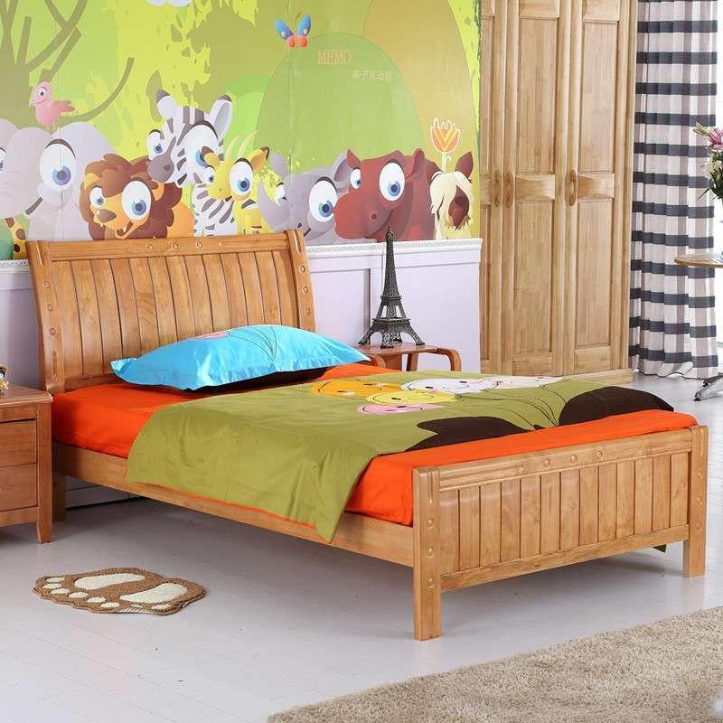 艾乐迪 儿童床实木床男女孩床单人床大童床木床小孩床幼儿床 原木色