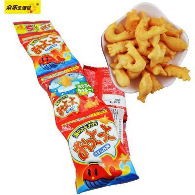 森永 日本进口零食品 5连包海洋小吃咸味鱼形膨化米饼干