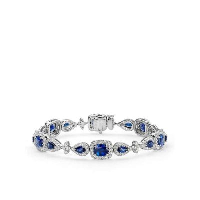 blue nile 18k 白金垫形与梨形蓝色蓝宝石与钻石光环手链51416