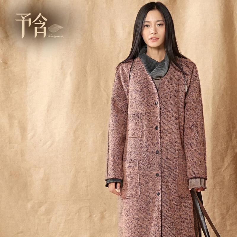 予含原创棉麻森系休闲风长款毛呢大衣女羊毛外套风衣2014秋冬新品图片图片