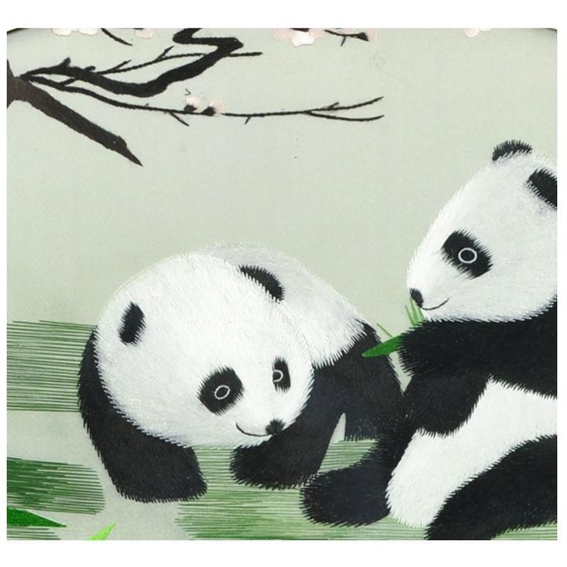 娇古苏绣 梅花熊猫纯手工刺绣鸡翅木框架热销工艺品苏绣