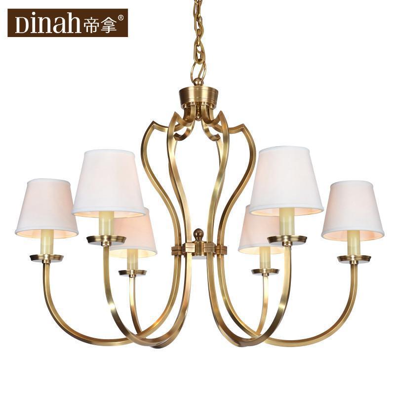 帝拿美式乡村吊灯卧室客厅餐厅欧式简约宜家全铜灯具