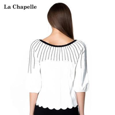 拉夏贝尔 2015春装新款女装中袖针织衫 10007083