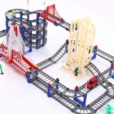 电动轨道车儿童玩具车带电梯轨道汽车组合玩具3