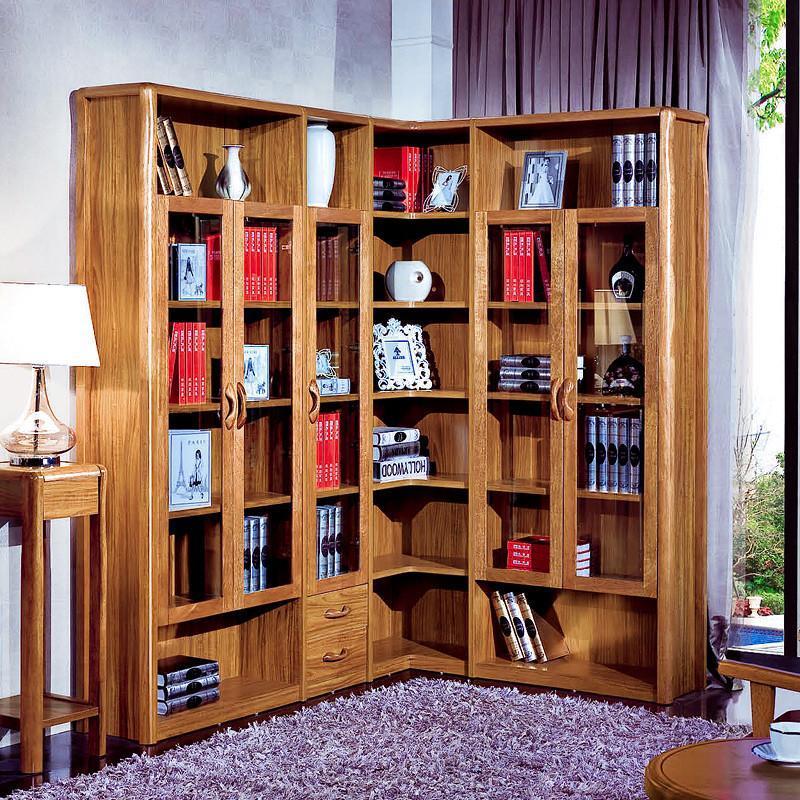 虎斑木实木框架书柜 组合书柜书架书橱书柜 中式家具 二门书柜