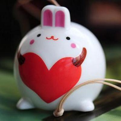 迈姿卡通超萌超可爱淑女大肚子兔陶瓷风铃挂件包挂