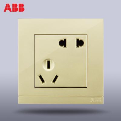 abb开关插座开关面板钢框由悦珍珠金色五孔插座电源插座ag205-pg