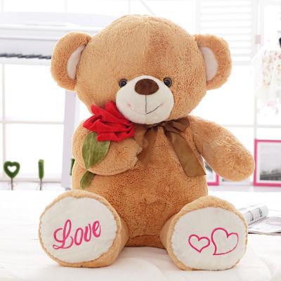 安吉宝贝可爱抱玫瑰花熊大号毛绒玩具布娃娃公仔泰迪