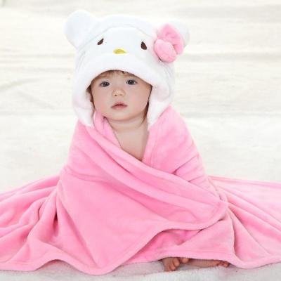 春夏秋冬款新生儿婴儿抱毯宝宝披风多功能动物造型单层法兰绒可爱保暖