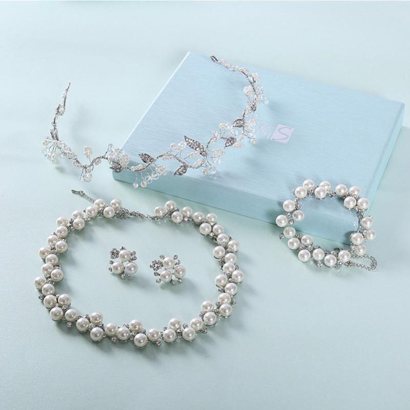 水舞新娘 手工婚纱头饰珍珠结婚项链三件套手链婚礼首饰 爱是唯一