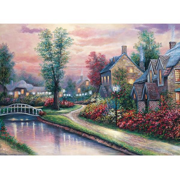 益智高檔風景拼圖4000片 風景油畫 裝飾畫 冬夜暖流
