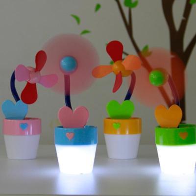 创意花盆风扇 表白爱心留言板电池带灯小型迷你小风扇