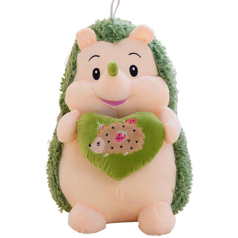 安吉宝贝可爱q版抱心刺猬公仔 绿色抱心刺猬26cm