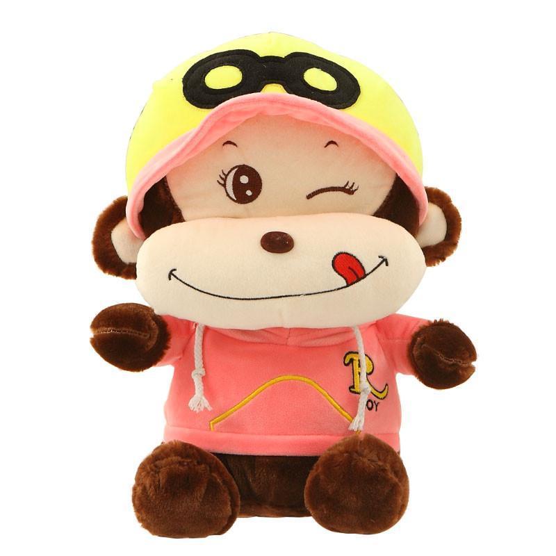 安吉宝贝馋嘴悠嘻猴嘻哈猴公仔毛绒玩具可爱大嘴猴子娃娃玩偶 粉色