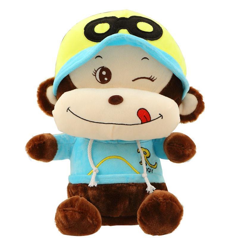 安吉宝贝馋嘴悠嘻猴嘻哈猴公仔毛绒玩具可爱大嘴猴子娃娃玩偶 蓝色