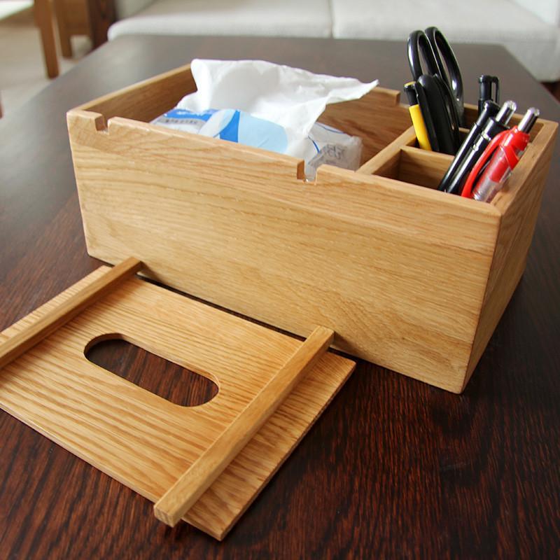 钰涵居白橡木纸巾盒创意多功能抽纸盒时尚木质桌面