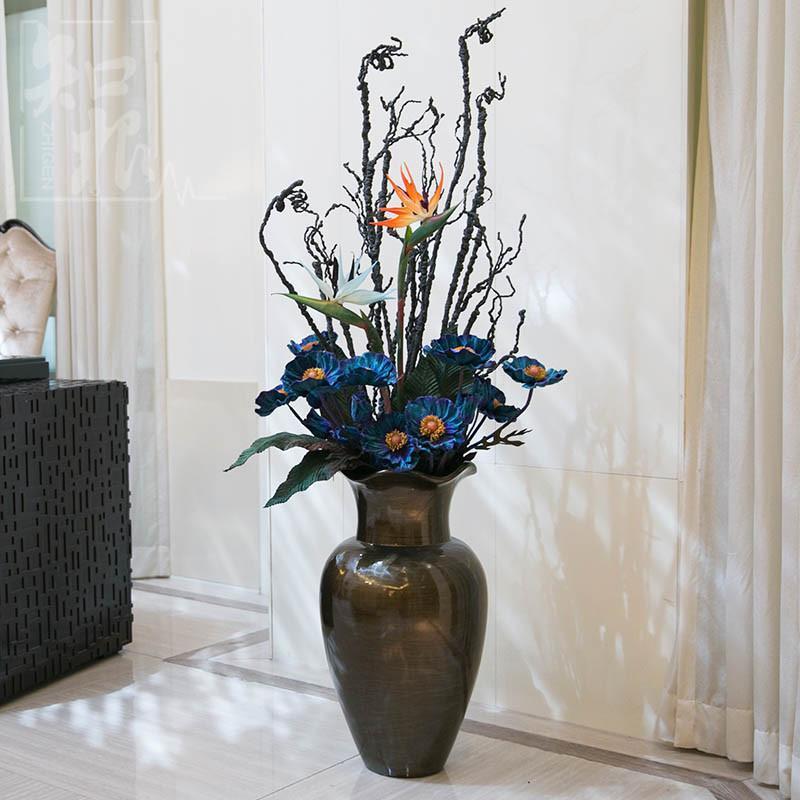 【皇冠猴仿真模型】摆件落地花瓶花艺欧式大型落地