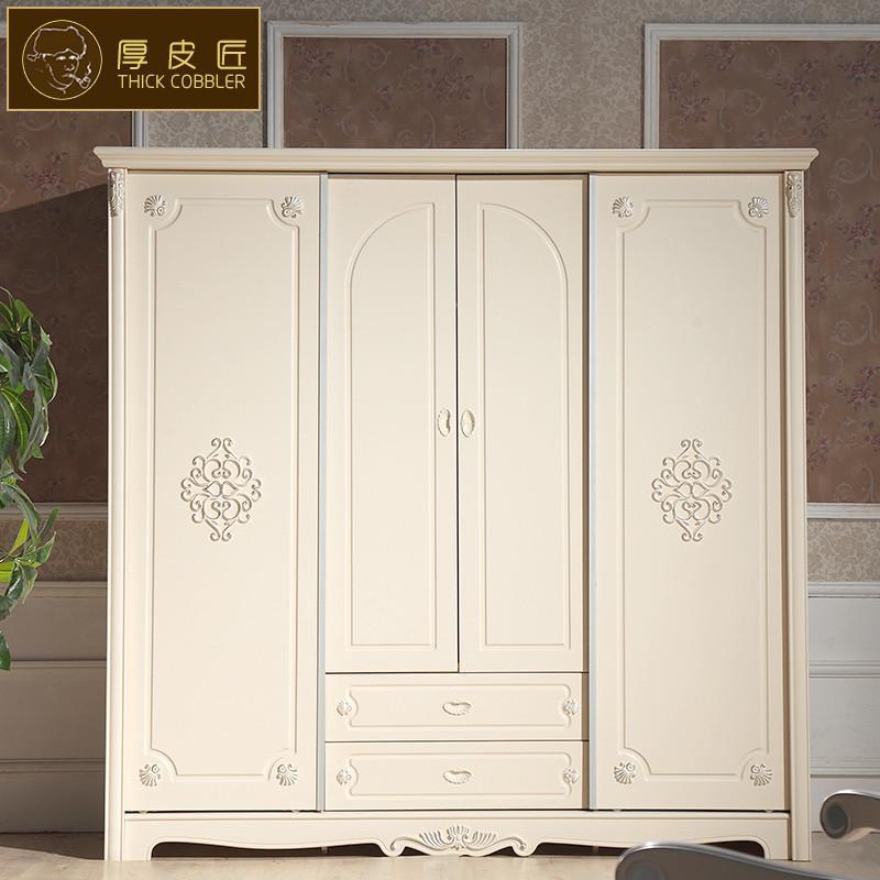 厚皮匠 欧式衣柜实木法式衣荷叶白色四门大衣柜卧室家具实木门 902
