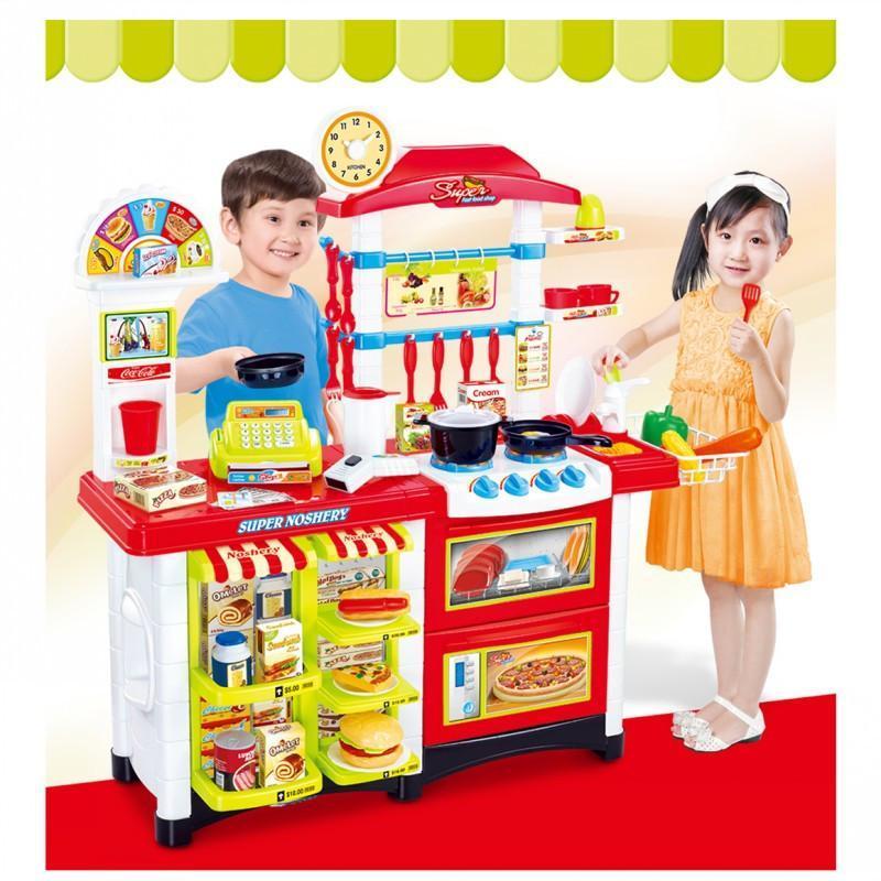贝比谷儿童过家家玩具豪华厨房6663e红色款图片