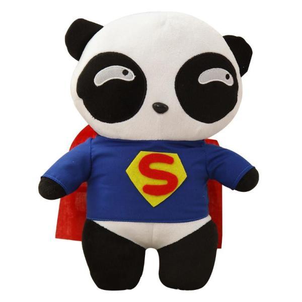 可爱五条杠熊猫公仔毛绒玩具娃娃 熊猫队长玩偶 儿童节生日礼物女