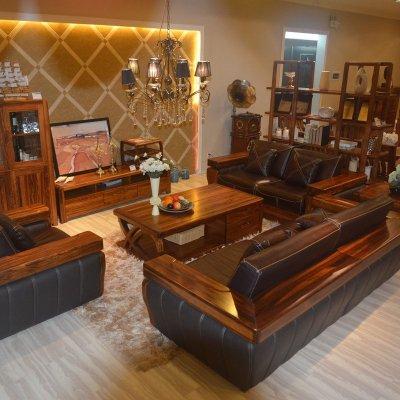 惠宜 乌金木实木沙发 客厅真皮沙发123组合沙发hy-sf07