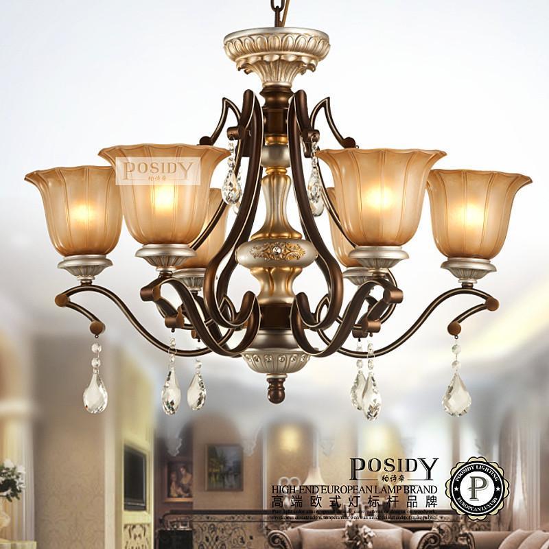 柏诗帝客厅欧式吊灯餐厅 欧式复古客厅卧室水晶吊灯 8头