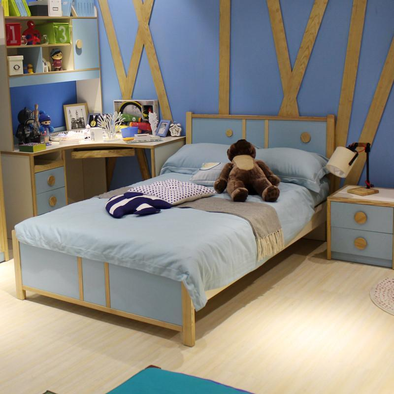 优漫佳 儿童床卧室实木床白蜡木床 男孩床女孩床 环保家具 铁架床