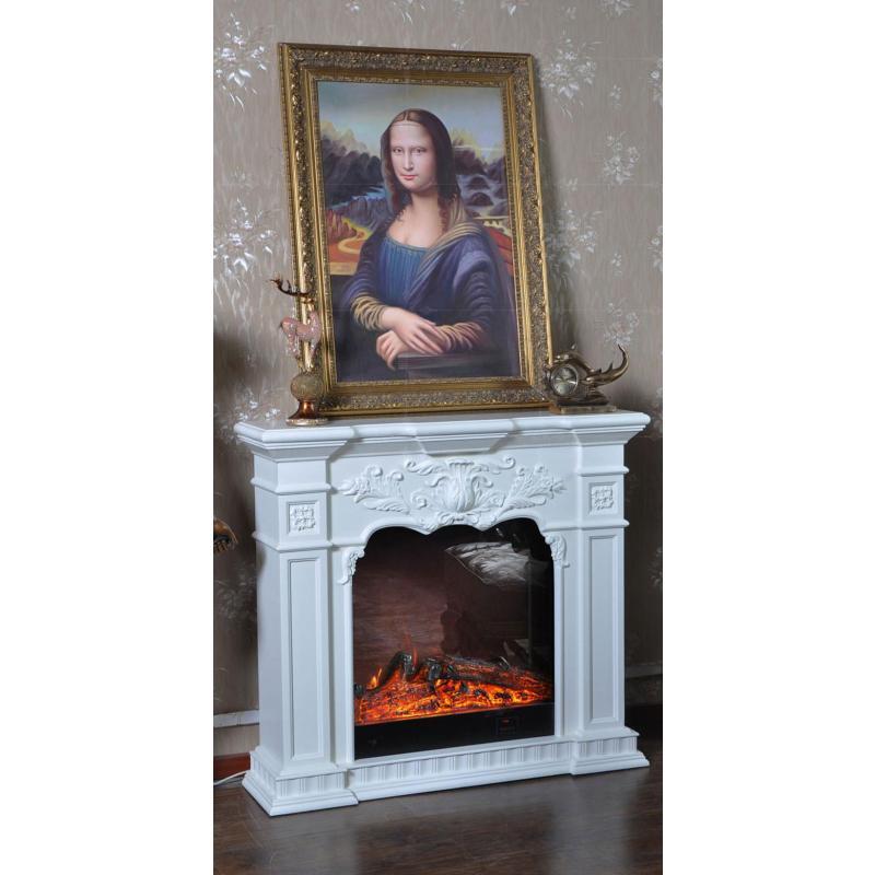 2米象牙白深色欧式壁炉装饰柜 美式电视柜实木壁炉架真火电壁炉芯va