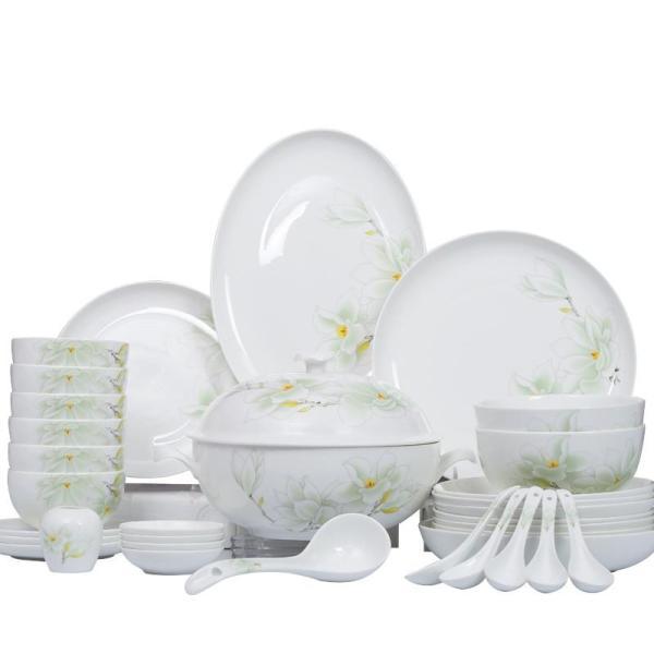 华光陶瓷 58白玉兰 精美骨瓷餐具高温釉中彩套装 中式瓷器图片