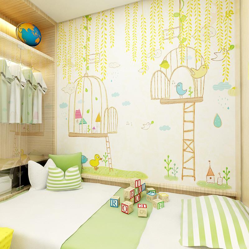 米素儿童房壁纸 可爱儿童卧室书房卡通壁纸大型壁画男孩女孩 树荫下