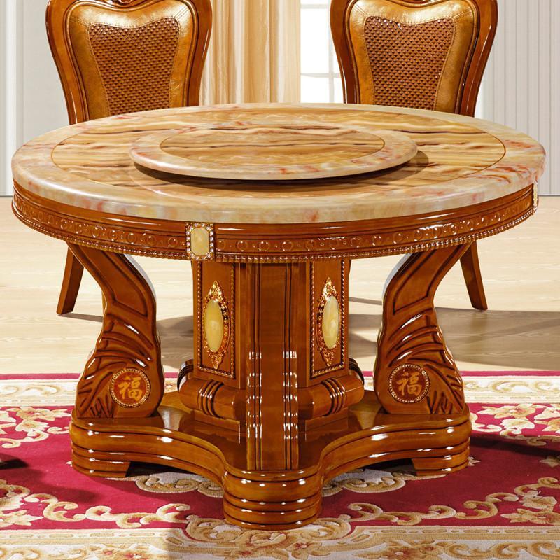 摩力克 欧式餐桌 实木圆餐桌椅组合 美式古典大理石圆桌