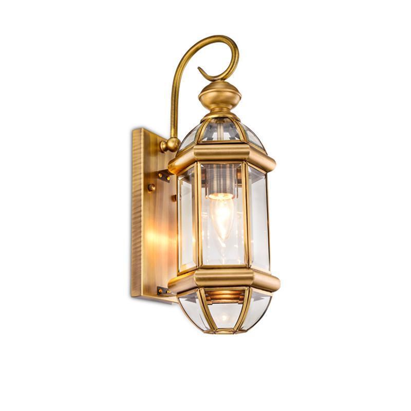 阳光照明 欧式背景墙壁铜灯户外壁灯庭院全铜防水阳台灯铜灯壁灯 qt
