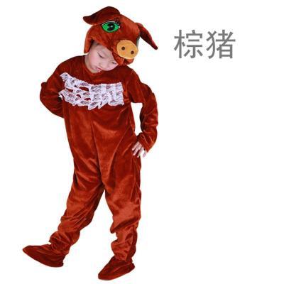 动物表演服装 舞台演出服男女童卡通舞蹈服连体衣棕