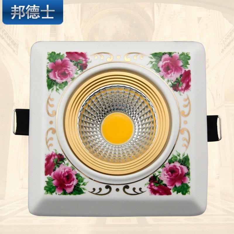 led天花灯客厅灯吊顶孔灯背景墙陶瓷欧式筒灯正方形3