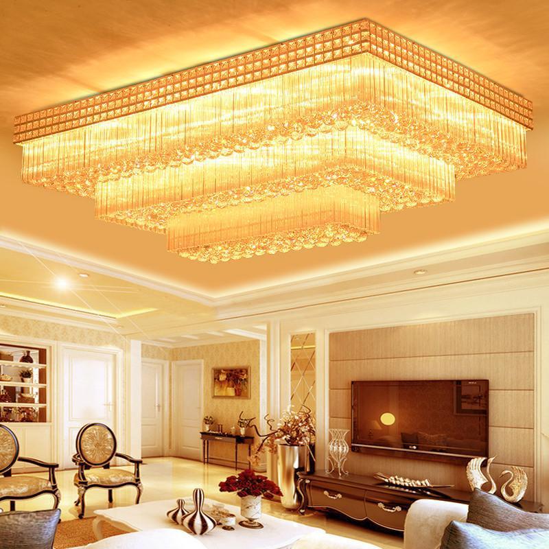 锐阳三层长方形水晶灯变色欧式客厅灯led吸顶灯简约大气卧室灯饰灯具