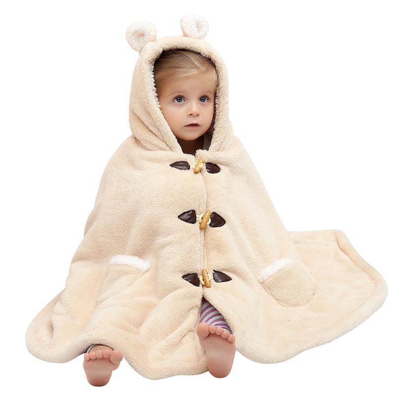 柏逦莎婴儿斗篷披风秋冬款加厚保暖儿童披肩外出防寒连帽宝宝睡袋