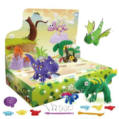 正品培培乐3166恐龙世界无毒彩泥超轻粘土儿童玩具礼盒套装